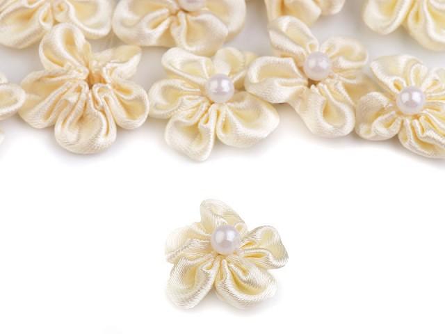 Saténový květ Ø25 mm s perlou