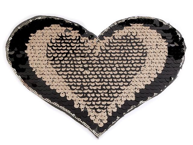 Nažehlovačka srdce s oboustrannými flitry - velká
