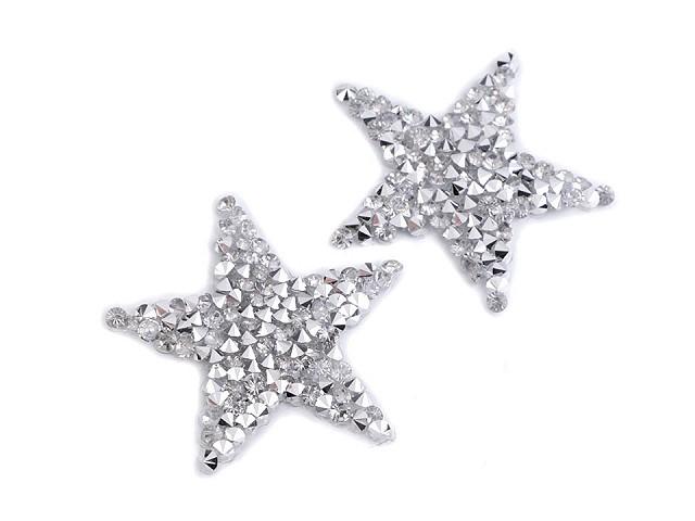 Nažehlovacia hviezda s kamienkami malá