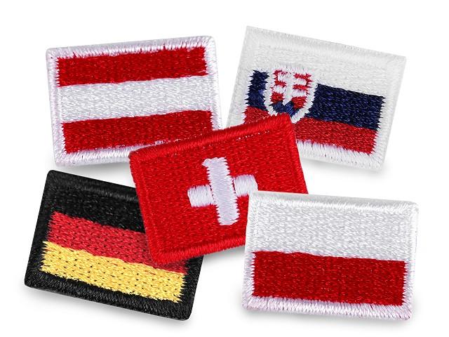 Nažehlovačka mini vlajka - Německo, Rakousko, Polsko, Švýcarsko, Slovensko