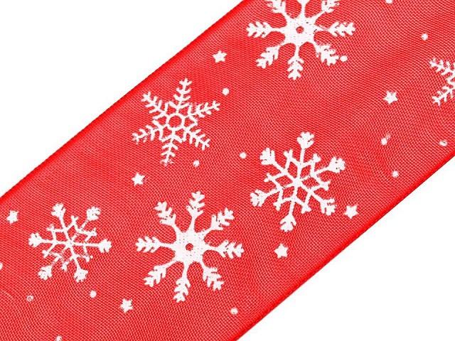 Stuha vločky šíře 40 mm vánoční