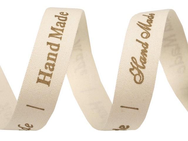 Bavlněná stuha šíře 15 mm Handmade