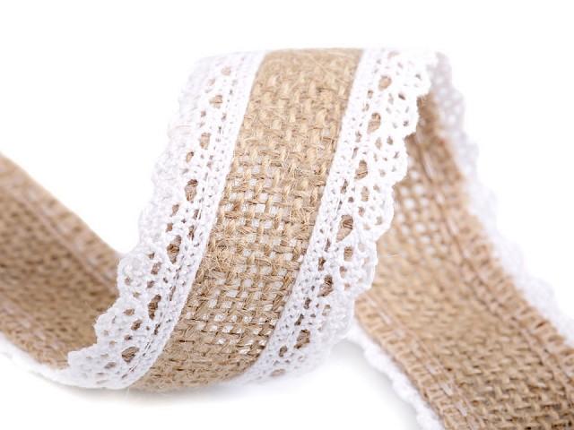Jutová stuha s bavlnenou čipkou
