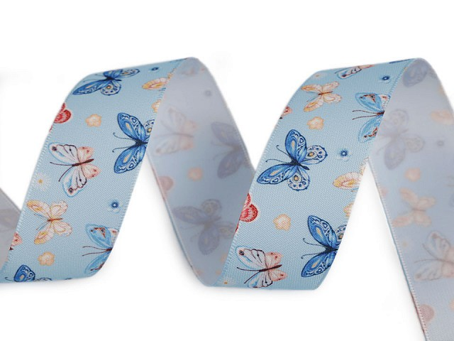 Saténová stuha s motýľmi šírka 25 mm
