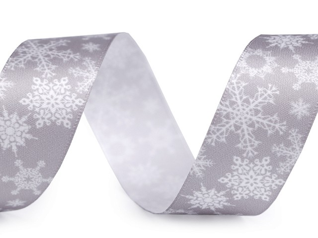 Saténová stuha vločky šíře 25 mm vánoční