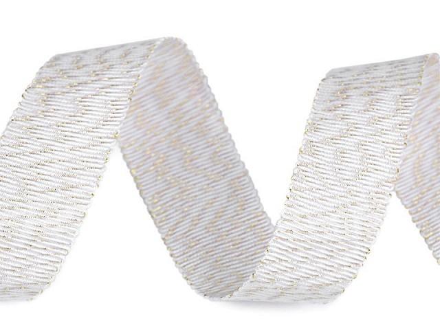 Vianočná tkaná stuha s leskom a lurexom šírka 20 mm