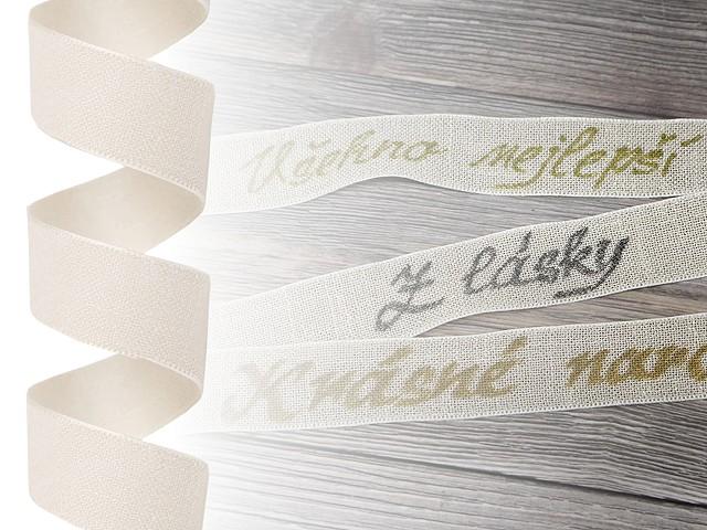 Plátnová stuha šíře 26 mm k popsání, potisku, imitace lnu