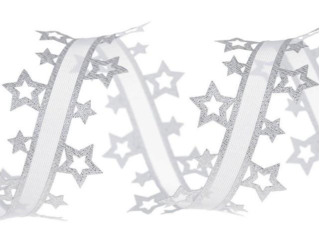 Vysekávaná stuha hviezdy s lurexom šírka 40 mm
