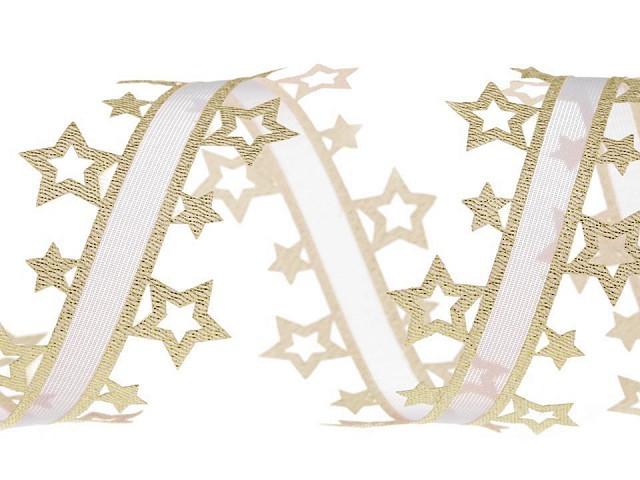 Vysekávaná stuha hvězdy s lurexem šíře 40 mm vánoční