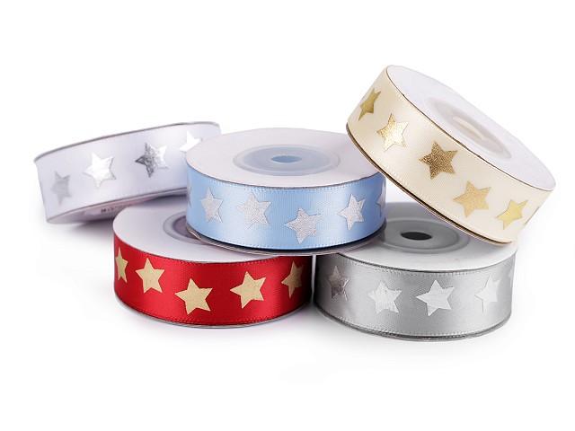Saténová stuha hvězdy šíře 20 mm vánoční