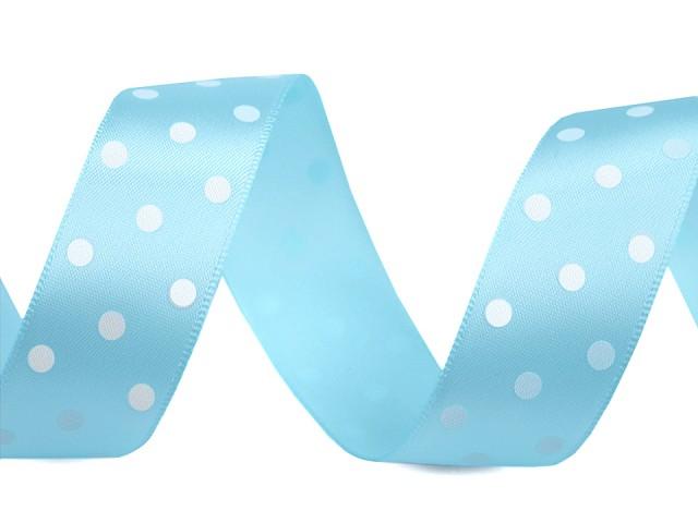 Saténová stuha s puntíky šíře 23 mm