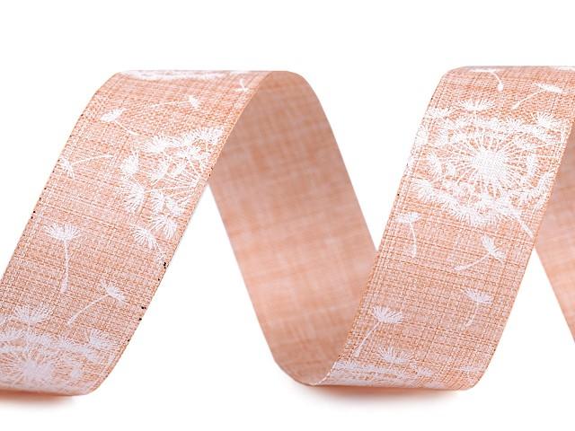 Plátnová rezaná stuha šírka 25 mm  púpava