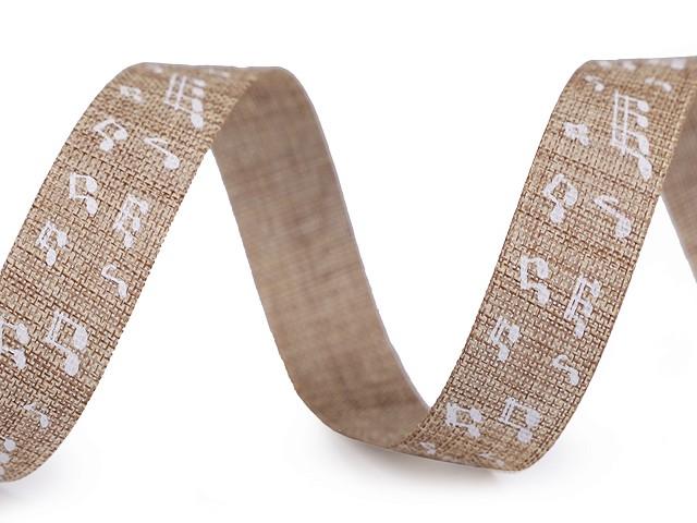 Plátnová řezaná stuha šíře 15 mm noty