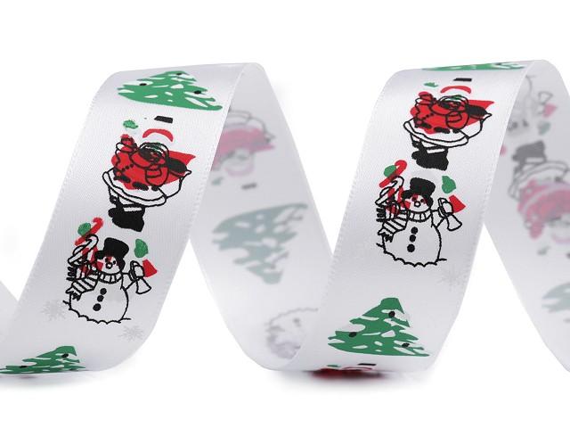 Vianočná saténová stuha Santa, snehuliak, stromček šírka 26 mm 2. akosť
