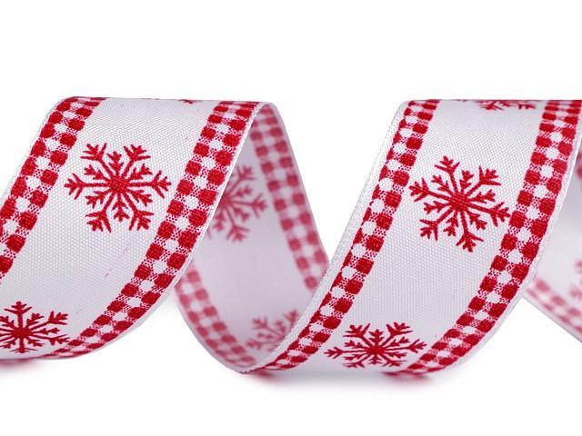 Stuha vločka s drátem šíře 40 mm vánoční