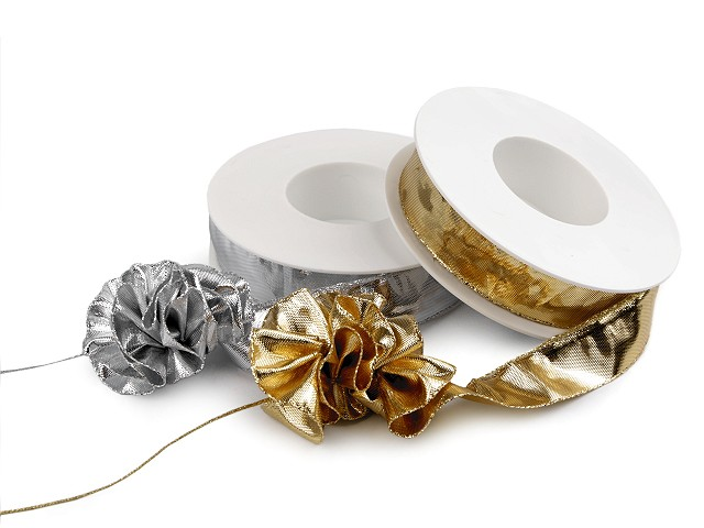 Stahovací stuha lámová, metalická šíře 25 mm vánoční