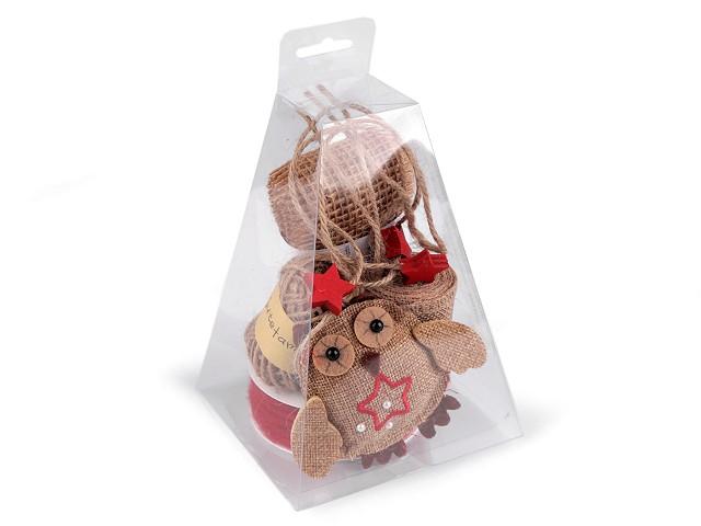 Jutová sada k balení dárků a aranžování, pyramida
