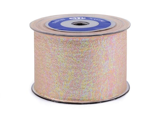 Stuha s perleťovým leskom šírka 65 mm