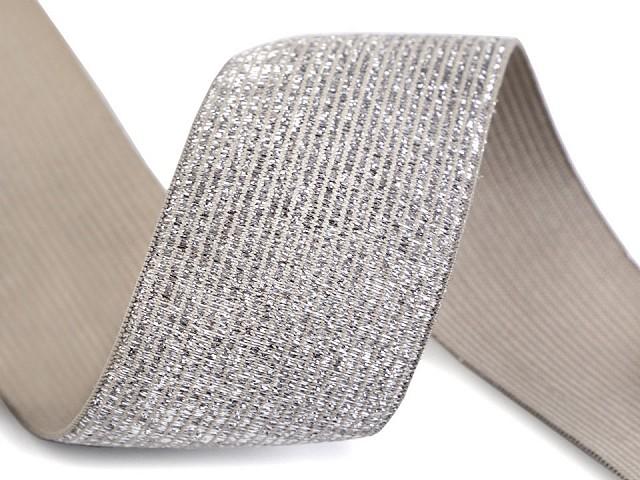Gummiband mit Lurex Breite 40 mm