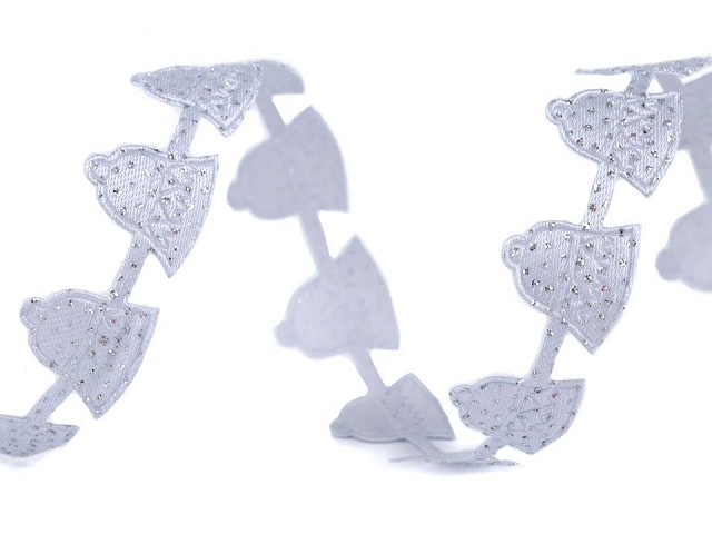 Saténový prýmek šíře 20 mm vánoční zvonečky s glitry