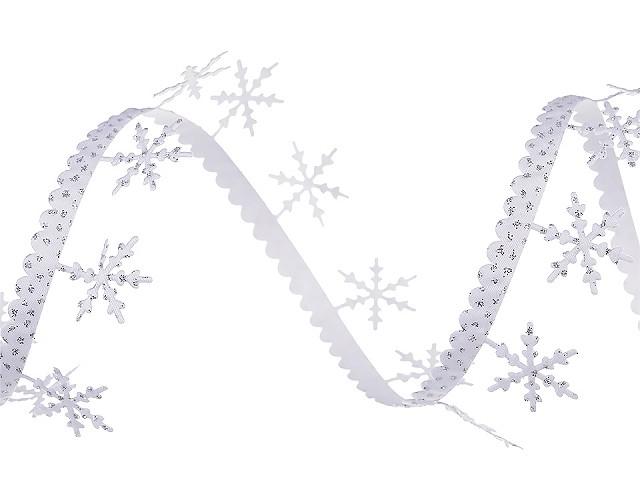 Saténový prýmek šíře 25 mm vánoční vločky s glitry