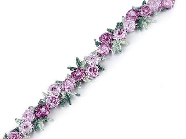 Vyšívaný prýmek s 3D květy šíře 15 mm