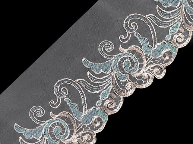 Vyšívaný prýmek na monofilu s lurexem šíře 18 cm