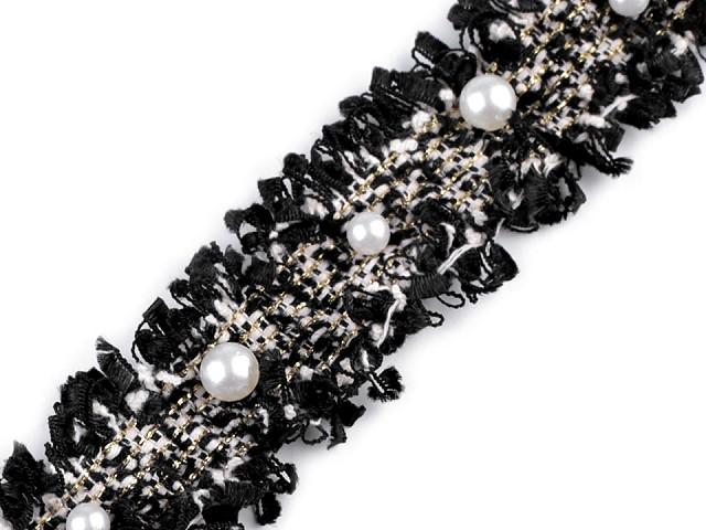 Prámik s perlami a lurexom šírka 30 mm