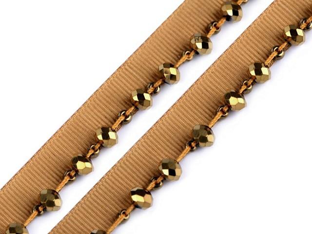 Prýmek / paspulka s broušenými korálky šíře 15 mm