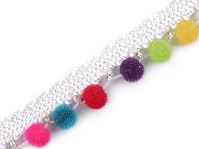 Prámik / paspulka so zamatovými perlami šírka 12 mm