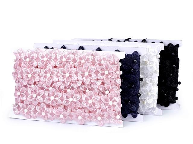 Prámik kvet s perlou na monofile šírka 35 mm