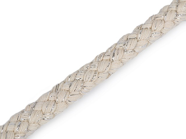 Bavlněná šňůra s lurexem Ø14 mm splétaná