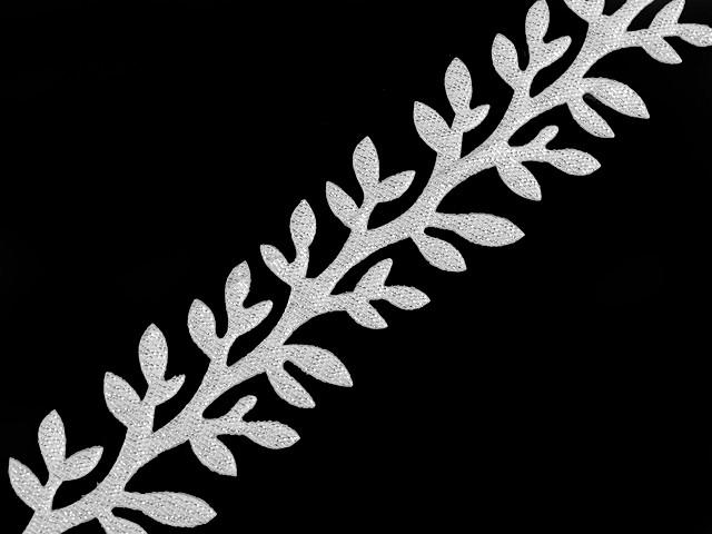 Saténový prámik šírka 24 mm vetvička s lurexom