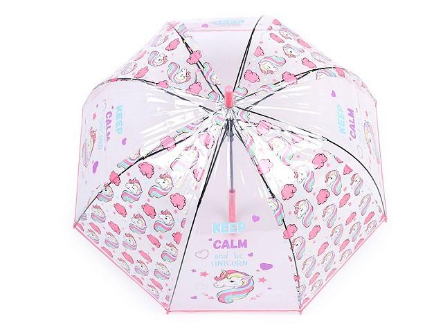 Dievčenský priehladný vystrelovací dáždnik jednorožec