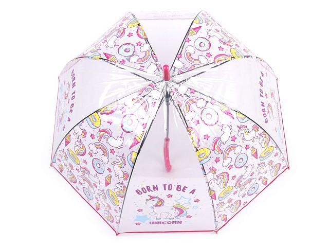 Dívčí průhledný vystřelovací deštník jednorožec