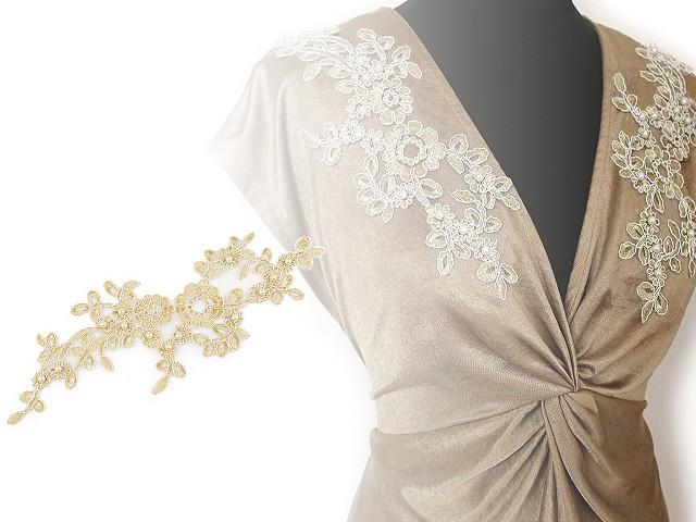 Lurexová aplikace / vsádka na monofile 10,5x32 cm s perlami, na spoločenské šaty