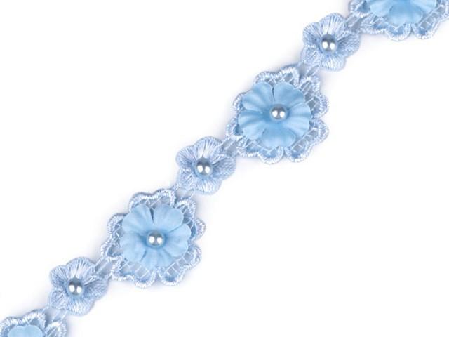 Čipka 3D kvet s perlou šírka 30 mm
