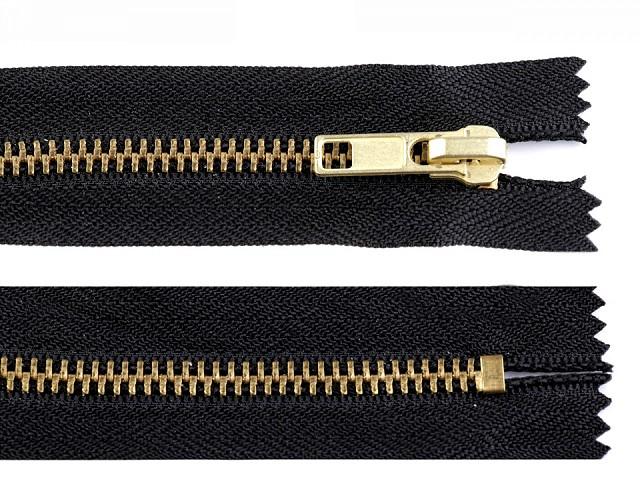Kovový / mosadzný zips šírka 6 mm dĺžka 18 cm