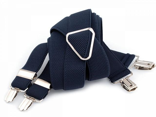 Bretelles de pantalon, largeur 2,5 cm, longueur 125 cm, dos en X