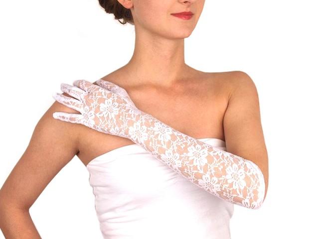 Dlhé spoločenské rukavice čipkované