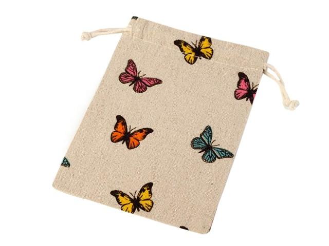 Lněný pytlík s motýly 13x18 cm