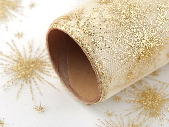 Vánoční organza s glitry šíře 36 cm