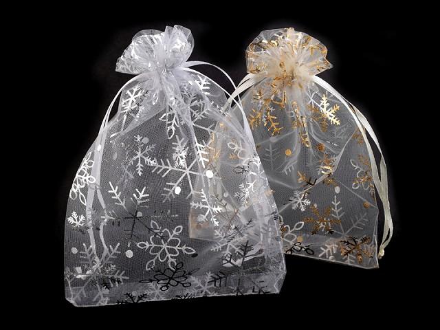 Darčekové vrecúško 13x18 cm organza s vločkami