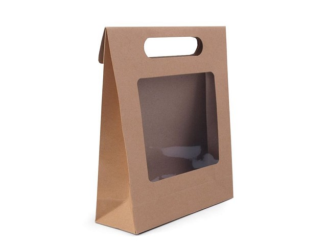 Papierová taška natural s priehľadom
