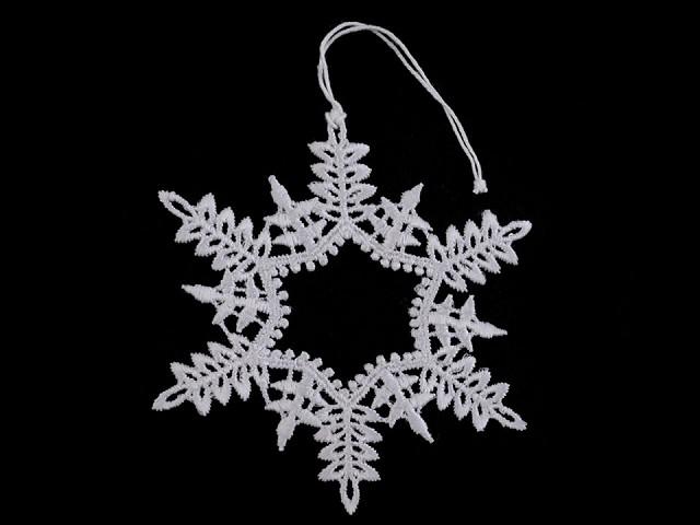 Vianočná čipková dekorácia hviezda, vločka