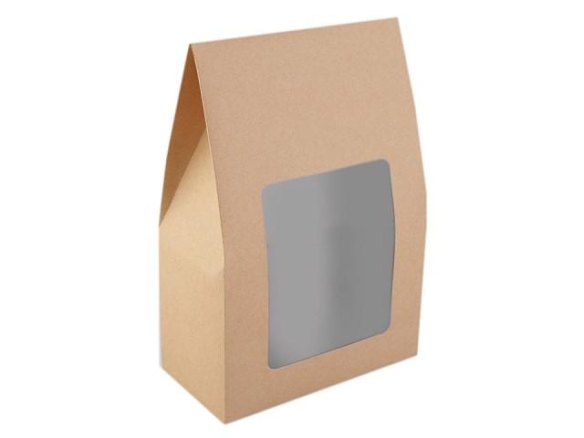 Papierová krabica naturál s priehľadom