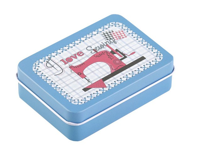 Plechová krabička na šití