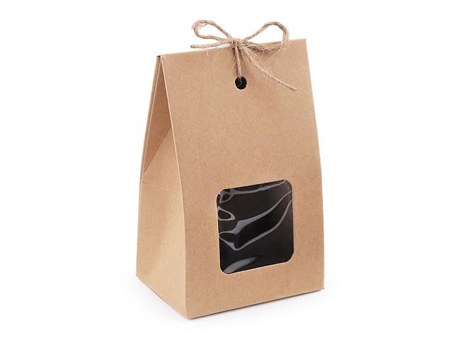 Papierová krabička naturálna s priehľadom a motúzikom