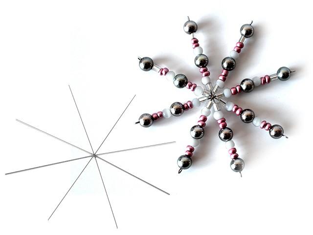 Hvězda / vánoční vločka drátová šablona Ø10 cm