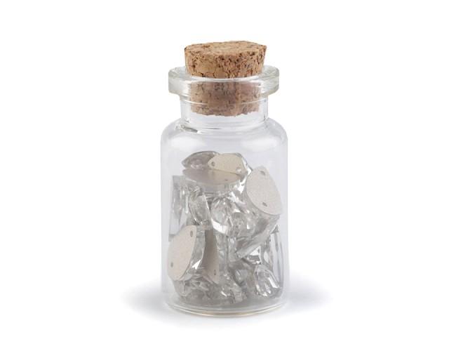 Brúsené kamienky kvapky našívacie mix vo flaštičke